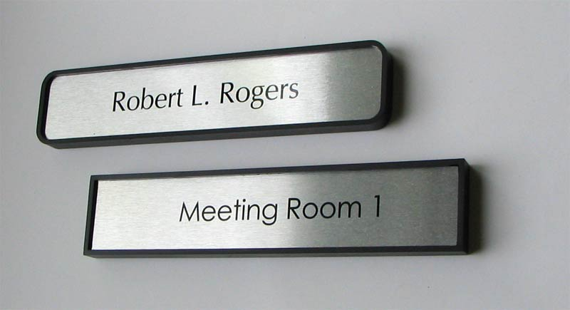 Office door name plates metal office signs door signs for Door name plates